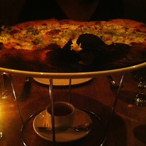 Pizza with cauliflower, garlic crema, burrata, anchoïade