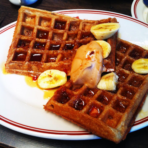 Fat Elvis waffles, Little Goat Diner