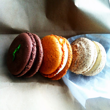 Macarons in chocolate-mint, orange-ginger-chevre, and salted caramel-coffee, Ken's Artisan Bakery