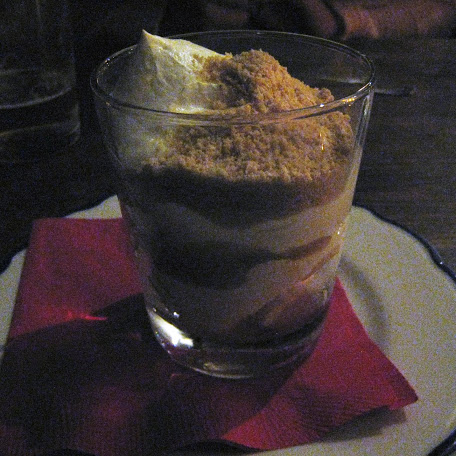Serradura dessert, with guava, banana, sweet cream, and cookie crumb