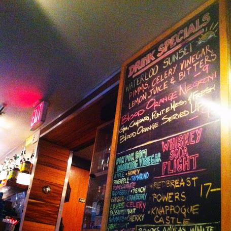 Drink list next to the bar, complete with Pok Pok's wide selection of drinking vinegars