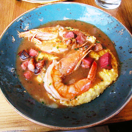 Shrimp, grits, gravy & tasso, Carriage House