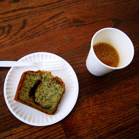Served at the event: editor David Tamarkin's coffee cake (featured in the magazine) and pourover coffee from Gaslight