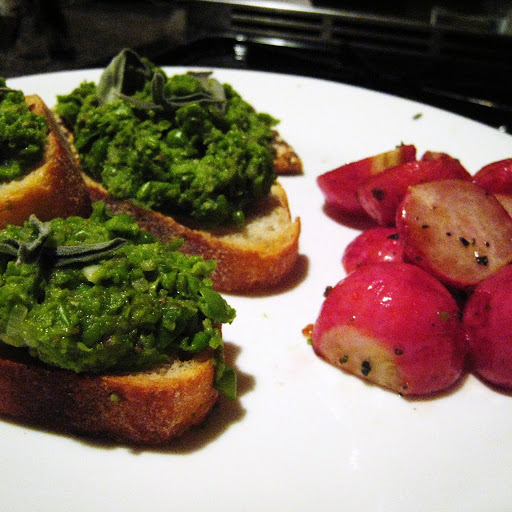 Middlewest pea pâté and roasted radishes