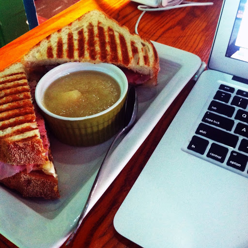 Panini with a side of applesauce at Knockbox Cafe