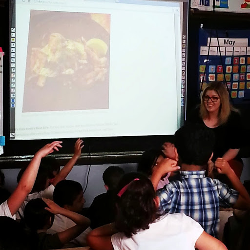 "Showing my blog to the class – this was when I asked ""who's had octopus before?"""