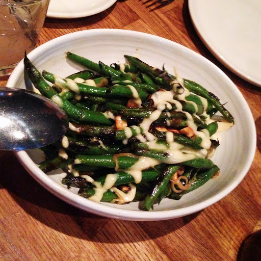 Sauteed green beans with fish sauce vinaigrette and cashews