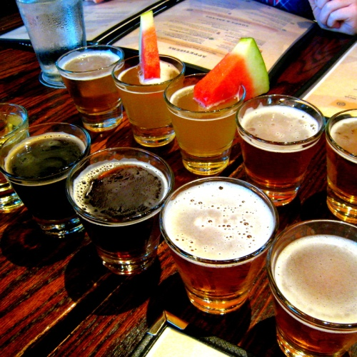 Beer flight at 21st Amendment Brewery, including the well-garnished Hell or High Watermelon