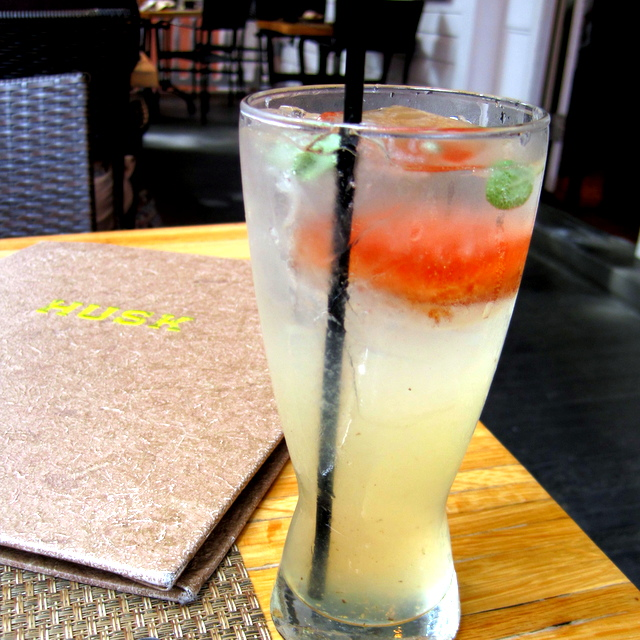 Himalayde, with lemongrass simple syrup, cinnamon ice, sage, lemon juice, and soda