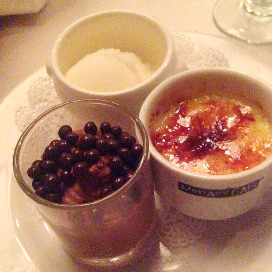 Dessert trio with chocolate mousse, crème brûlée, and meyer lemon sorbet