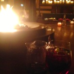 Red apple orchard sangria (shiraz, brandy, apple	juice, and cinnamon sticks) at our fireside table