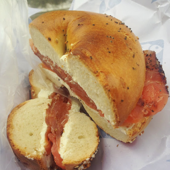 Everything bagel with pastrami-cured salmon and horseradish cream cheese, Russ & Daughters